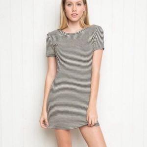 Brandy  Melville Short Sleeve Striped Cotton Dress